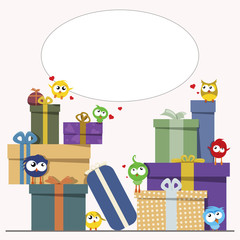 gift boxes with cute birds