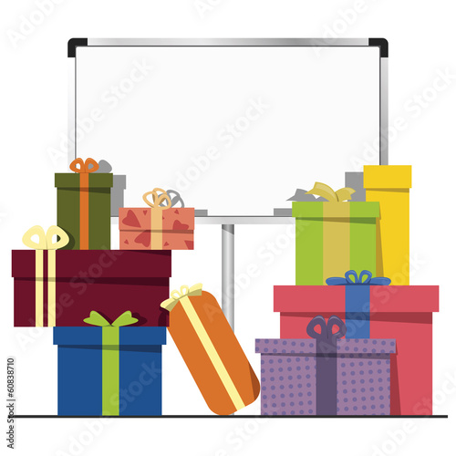 gift boxes and a whiteboard