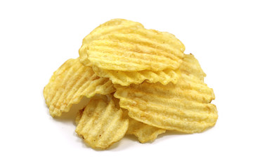 a handful of potato chips on white background