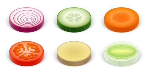 Rondelles de légumes vectorielles 1