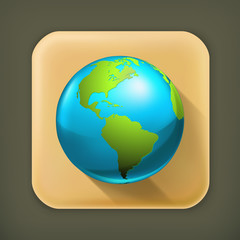 Blue globe, long shadow vector icon
