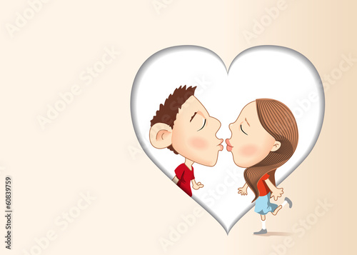 Vector illustration of kissing