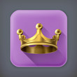 Gold crown, long shadow vector icon