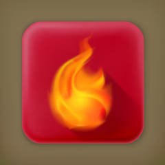 Flame, long shadow vector icon