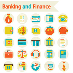Flat vector illustration eps 10. Banking and Finance set icons.