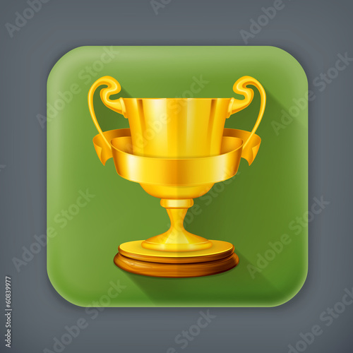 Gold trophy, long shadow vector icon