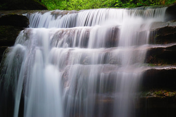 waterfall with soft water in spring