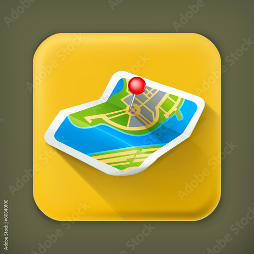 Map, long shadow vector icon