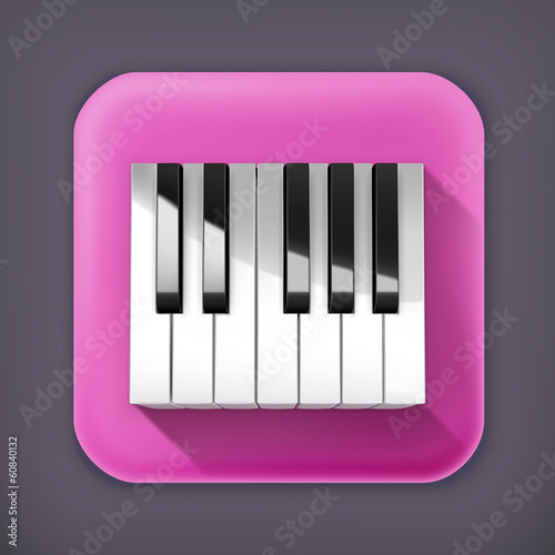 Octave piano keys, long shadow vector icon