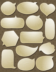Set of special wooden labels and bubble, vector