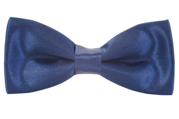 a blue bow tie on a white background