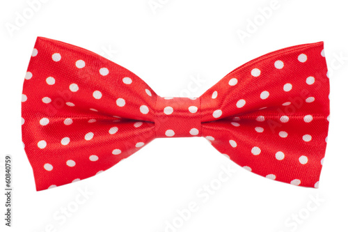 a red bow tie on a white background
