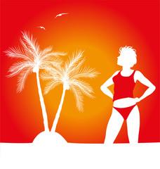 silhouette di ragazza con palme sullo sfondo