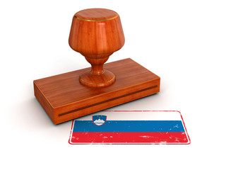 Rubber Stamp Slovene flag (clipping path included)