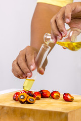 pouring yellow palm oil