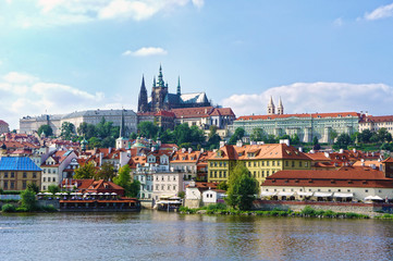 View on the Prague gothic Castle above River Vltava