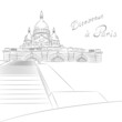 Vector sketch of cityscape with Sacre Coeur in Paris