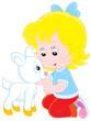 Little girl caresses a small white goatling