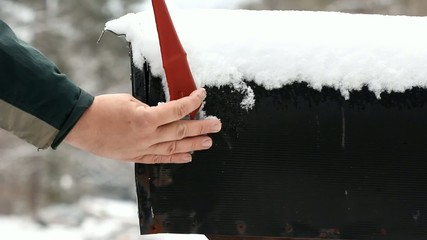 Snow Covered Mailbox Opened And Closed