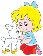 Girl with a white goatling