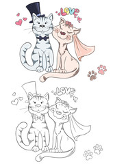 Coloring book with cartoon groom and bride cats. Wedding