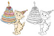 Coloring book with cartoon cat with birthday cake