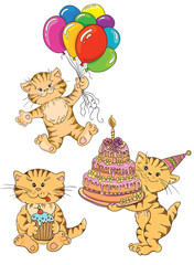 Cute cats. Idea for greeting card on birthday