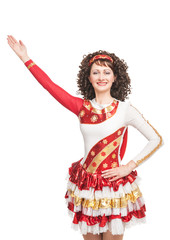 Irish dancer raise hand up isolated