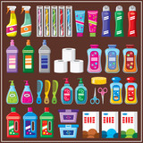 Set of household chemicals.