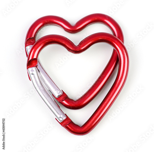two heart shaped carabiner one above the other