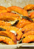 Roasted pumpkin with sage.Healthy vegetables food