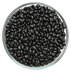Glass Bowl of Unwashed Raw Black Beans