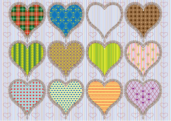 Patterned Hearts - set - Illustration