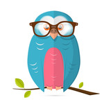 Owl with Glasses Vector Paper Illustration