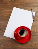red coffee cup on white blank