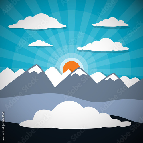 Mountain Abstract Vector Background with Sun, Clouds