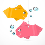 Paper Fish Hang on Strings with Bubbles