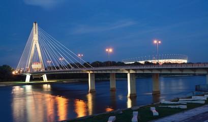 Swietokrzyski Bridge in Warsaw by night.