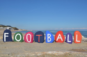 Football concept on colourful stones