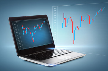 laptop computer with forex chart on desktop