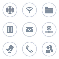 Communication web icons, circle line series