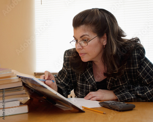 Adult person studying