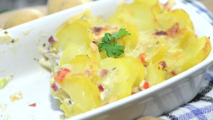 Portion of Potato Gratin (loopable)