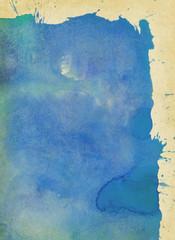 blaue gekleckste und gemalte farbtextur auf altem papier