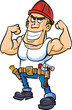 Cartoon worker flexing his muscles