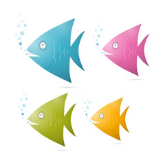 Colorful Fish Set Illustration Isolated on White Background
