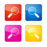 Vector 3d Blue, Red, Yellow and Pink Magnifying Glass