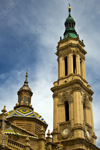tower of Basilica at Zaragoza, Spain