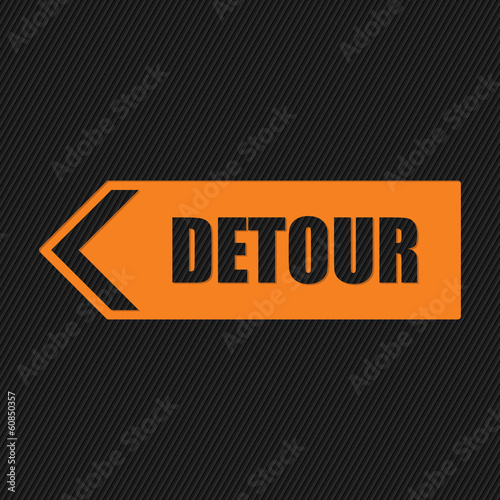 Detour sign on striped background