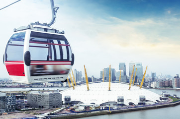 Cable car and London skyline